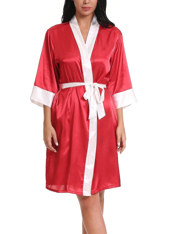 b9b86c467 ... FasiCat Women Sexy Sleepwear Bathrobes Lingerie Satin Kimono Robes  Nightgown 6020 ...