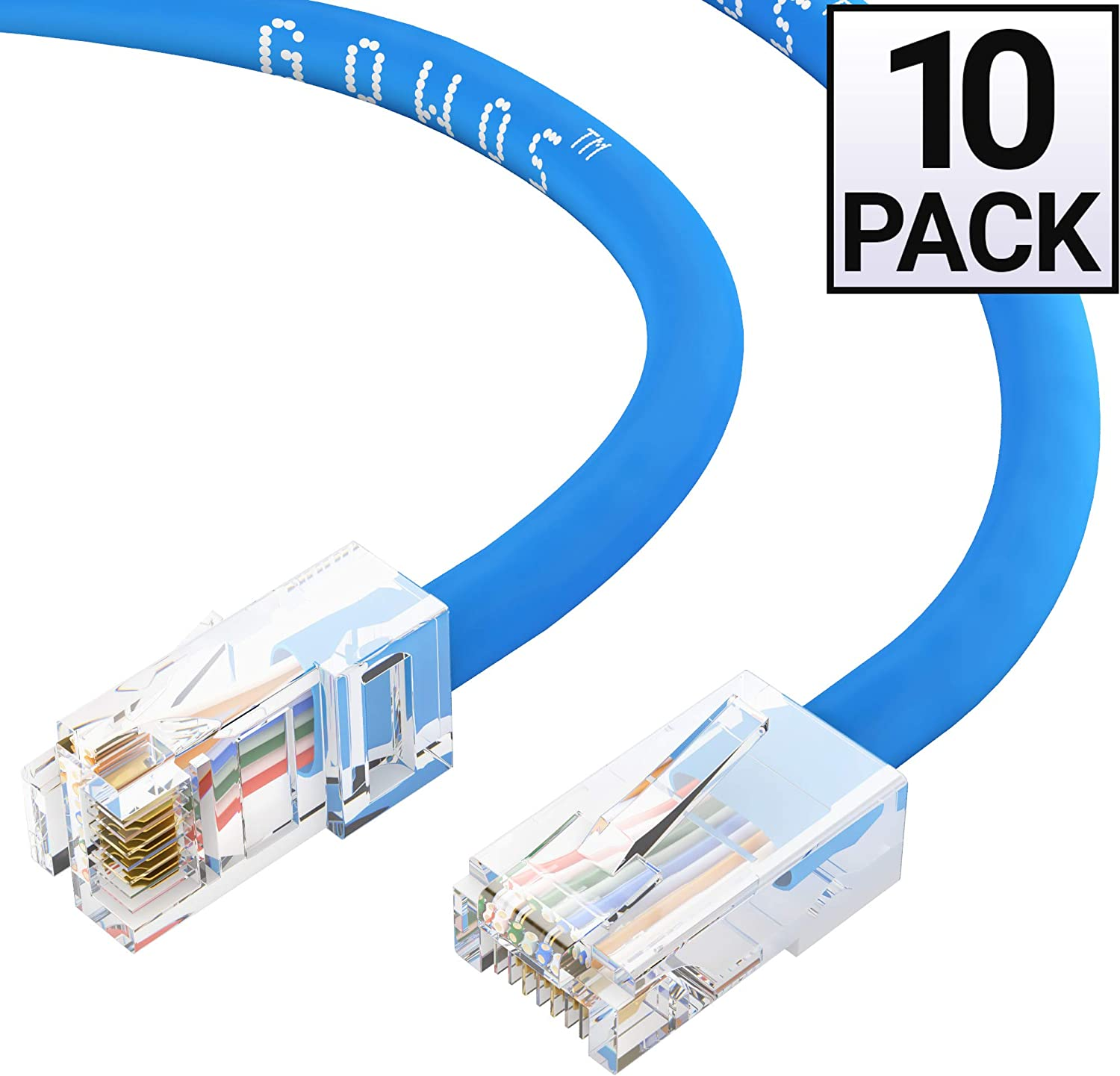 UTP 20 Feet - Gray Cat5e Ethernet Cable RJ45 10Gbps High Speed LAN Internet Patch Cord Computer Network Cable with Bootless Connector GOWOS 20-Pack Available in 28 Lengths and 10 Colors