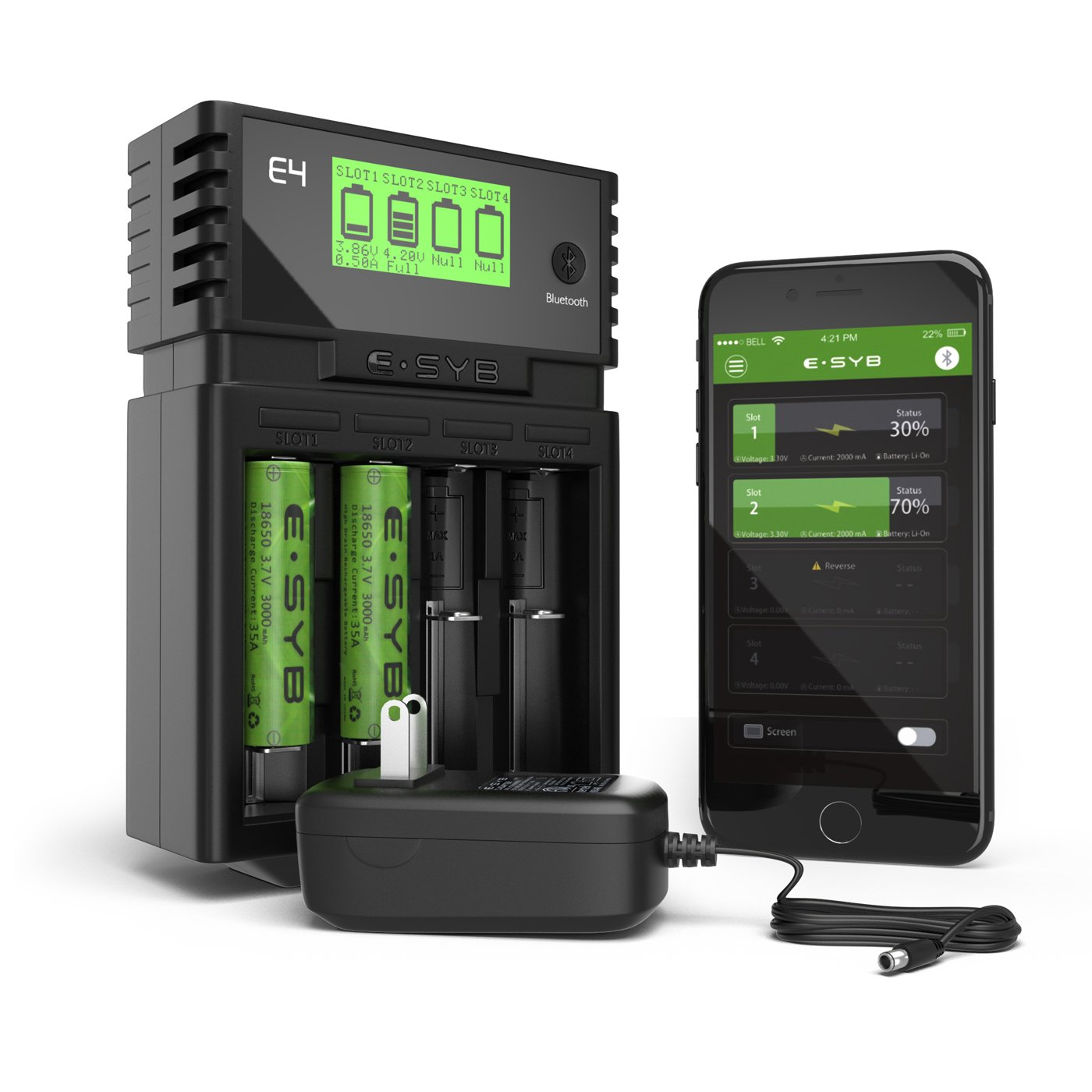 ESYB E4 18650 Intelligent Charger 4 Bay, USB Universal Battery Charger With APP Display and Bluetooth, Rechargeable Battery Charger For vtc6, vtc5, 25R, 30Q, Power Bank