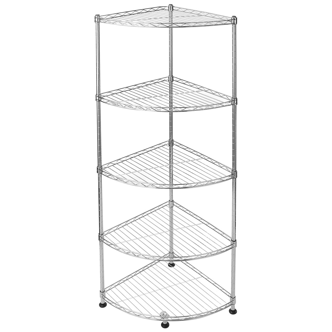 SortWise™ Multipurpose Corner Wire Shelf, Heavy Duty Stainless Steel Storage Shelf, Adjustable Rack Unit (5 Tier)