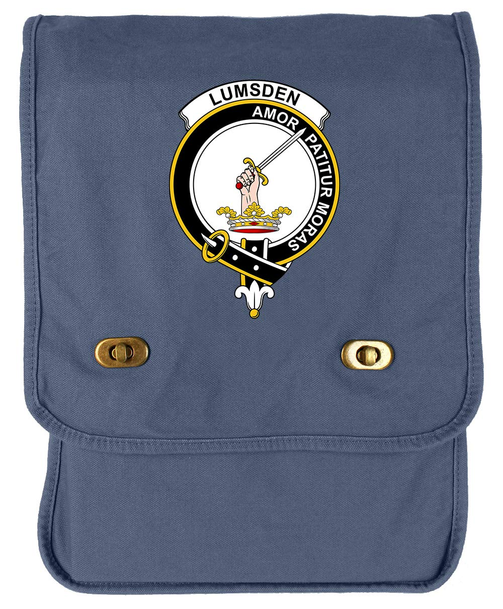 Tenacitee Scottish Clan Crest Badge Lumsden Royal Blue Brushed Canvas Messenger Bag