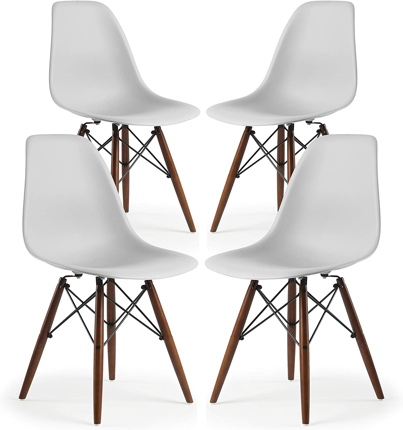 Poly and Bark Vortex Modern Mid-Century Side Chair with Wooden Walnut Legs for Kitchen, Living Room and Dining Room, Harbor Grey (Set of 4)