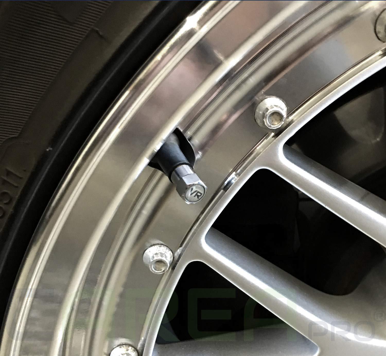 CAREApro /® 8X Premium Reifenbeschriftung Elegante und Professionelle Auto Ventilkappen Rostfrei Im Rocket-Black-Look
