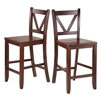 Incroyable Winsome Victor 2 Piece V Back Counter Stools, 24 Inch, Brown