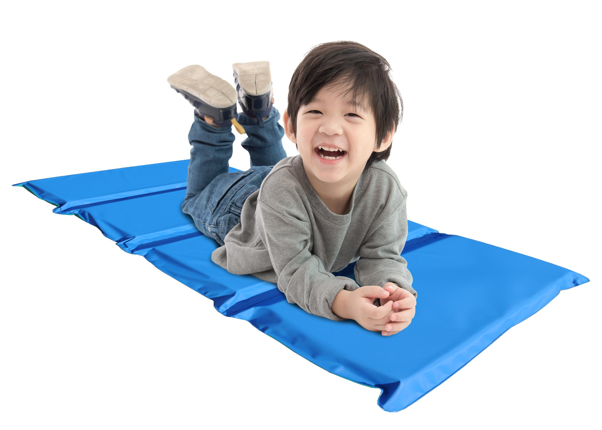 Soft Comfy Reliable And Durable Easy Clean, Disinfect And Store Peerless Plastics Blue/Teal KinderMat, 2'' x 19'' x 44'' - Perfect For School Naps