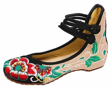 Icegrey Damen Stickerei Blumen Riemchen Knchel Beleg auf Schuhen