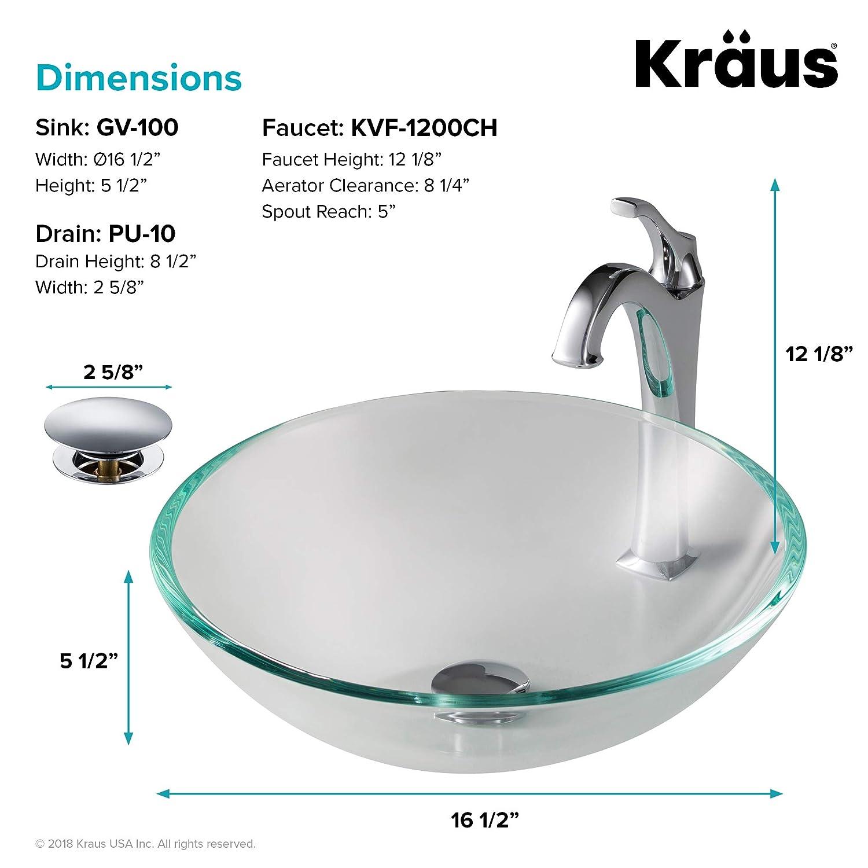 Tools Home Improvement Vessel Sinks Kraus Gv 100 Crystal Clear Glass Vessel Bathroom Sink