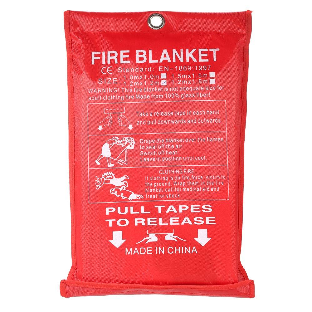 KKmoon Couverture Anti-feu/ Quick Release Safety Fire Blanket/ Couverture de feu de fibre de verre/ Fire Blanket-1 M × 1 M / 1.2 M × 1.2 M / 1.2 M × 1.8 M / 1.5 M × 1.5 M / 1.8 M × 1.8 M