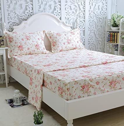 High Quality Brandream Shabby Floral Bed Sheet Set 100% Cotton Sheets Set 4pcs Full Size