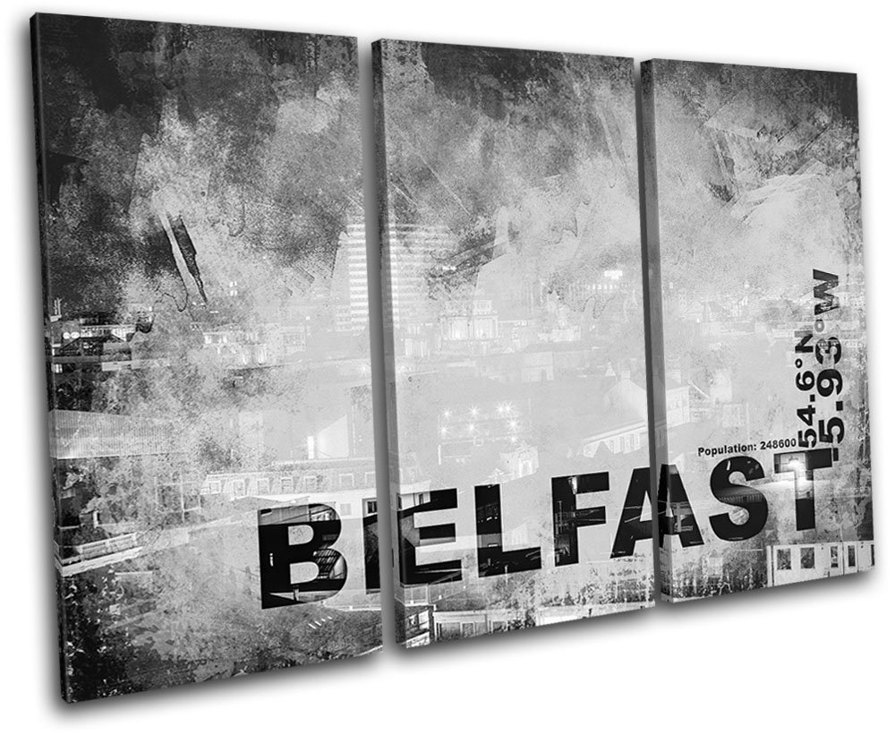 Bold bloc design belfast n ireland city typography 150x100cm canvas art print box framed picture wall hanging hand made in the uk framed and ready