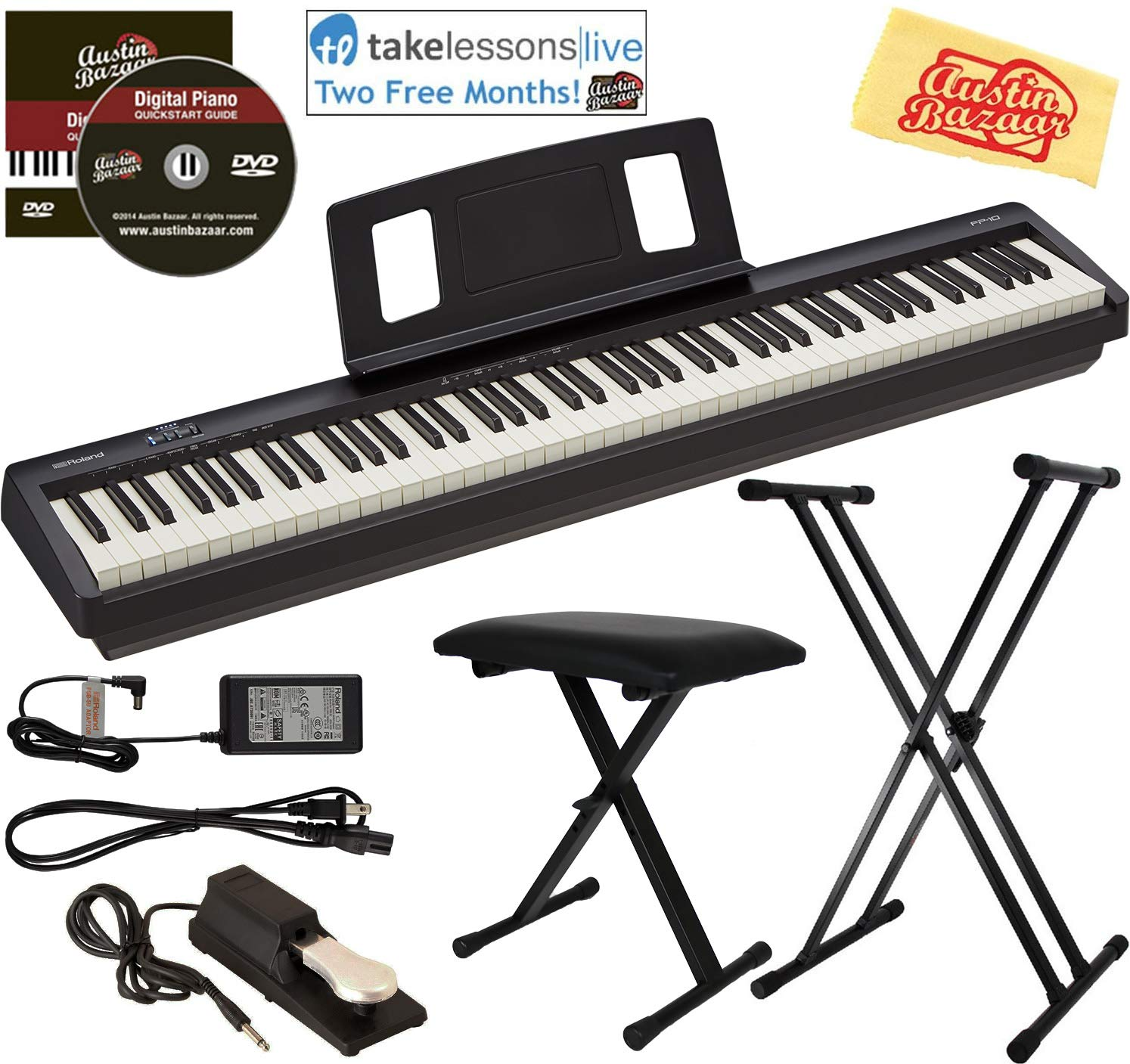 Roland FP-10 Digital Piano Bundle with Adjustable Stand, Bench, Sustain Pedal, Online Lessons, Instructional DVD, and Austin Bazaar Polishing Cloth by   Roland