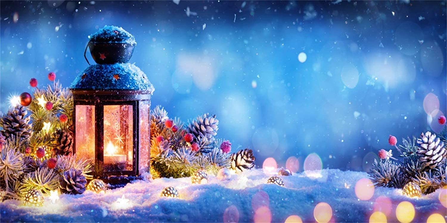 10x5ft Christmas New Year Theme Backdrop Polyester Old Lighting Lantern Xmas Decorations Pine Twigs Cones Snowfield Bokeh Haloes Nightscape Background New Year Xmas Party Banner Child Baby Shoot