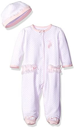 d9a9371ea Little Me Baby-girls Newborn Prima Ballerina Footie and Hat: Amazon.in:  Clothing & Accessories