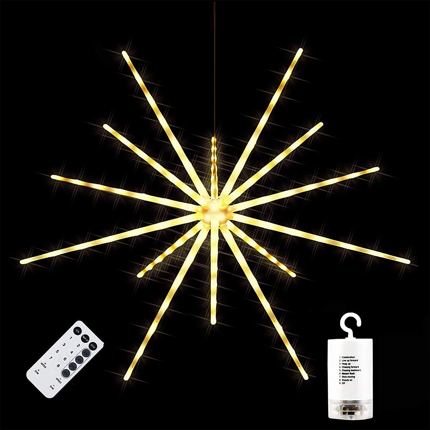 112 LED Starburst Sphere Lights, Battery Operated Firework Lights, 8 Flashing Modes Dimmable Speed Remote Control, Waterproof Fairy Copper Wire Lights, Hanging Lights Christmas Decor(Warm White)