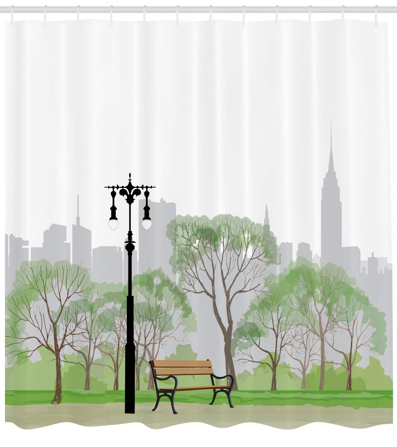 Central Park Scene with Bench and Trees Skyscraper Silhouettes American Landscape Multicolor Cloth Fabric Bathroom Decor Set with Hooks 70 inches Printawe New York Shower Curtain