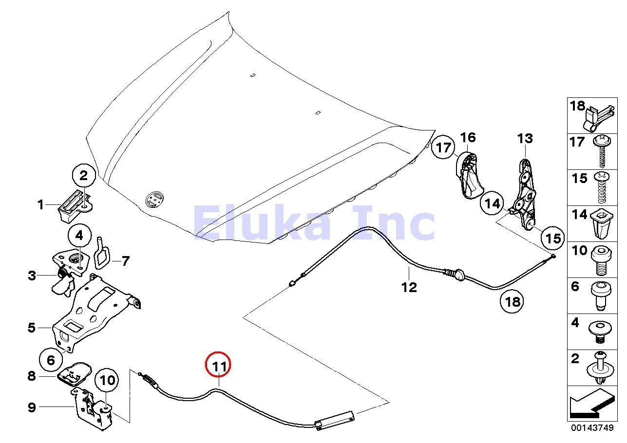 amazon com bmw genuine engine mechanism hood release cable cable rh amazon  com BMW 335I N54 BMW N55