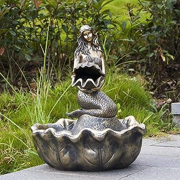 Figura Decorativa para jardín Sirena Solar Fuente De Agua De Resina Impermeable Estatua Del Jardín Para