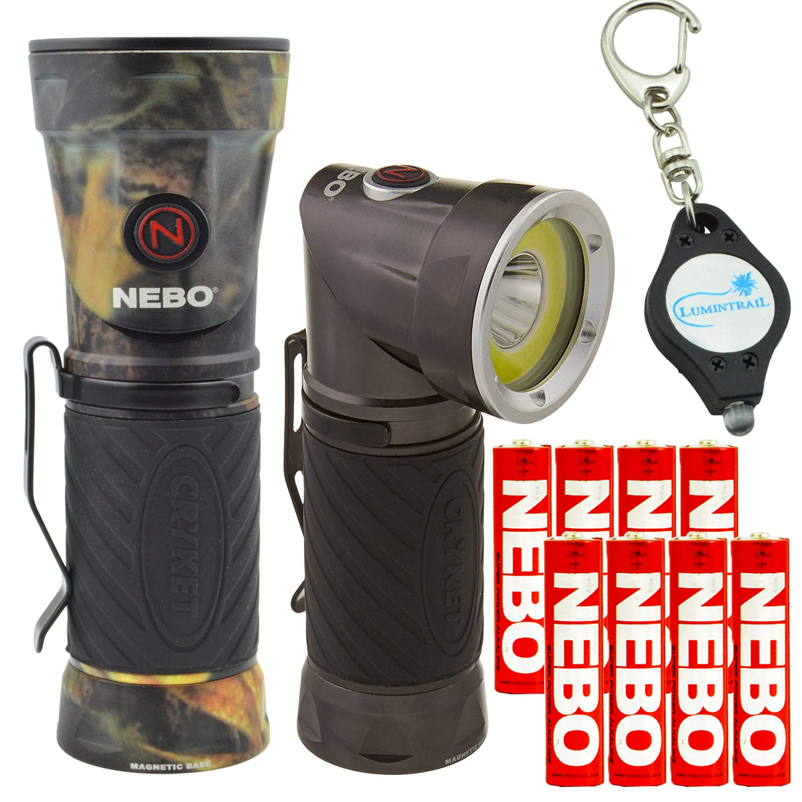 Nebo Cryket 6437 LED Work Light Spot Light Red LED Swivel Head with 8 Nebo AAA Batteries and Lumintrail Keychain Light