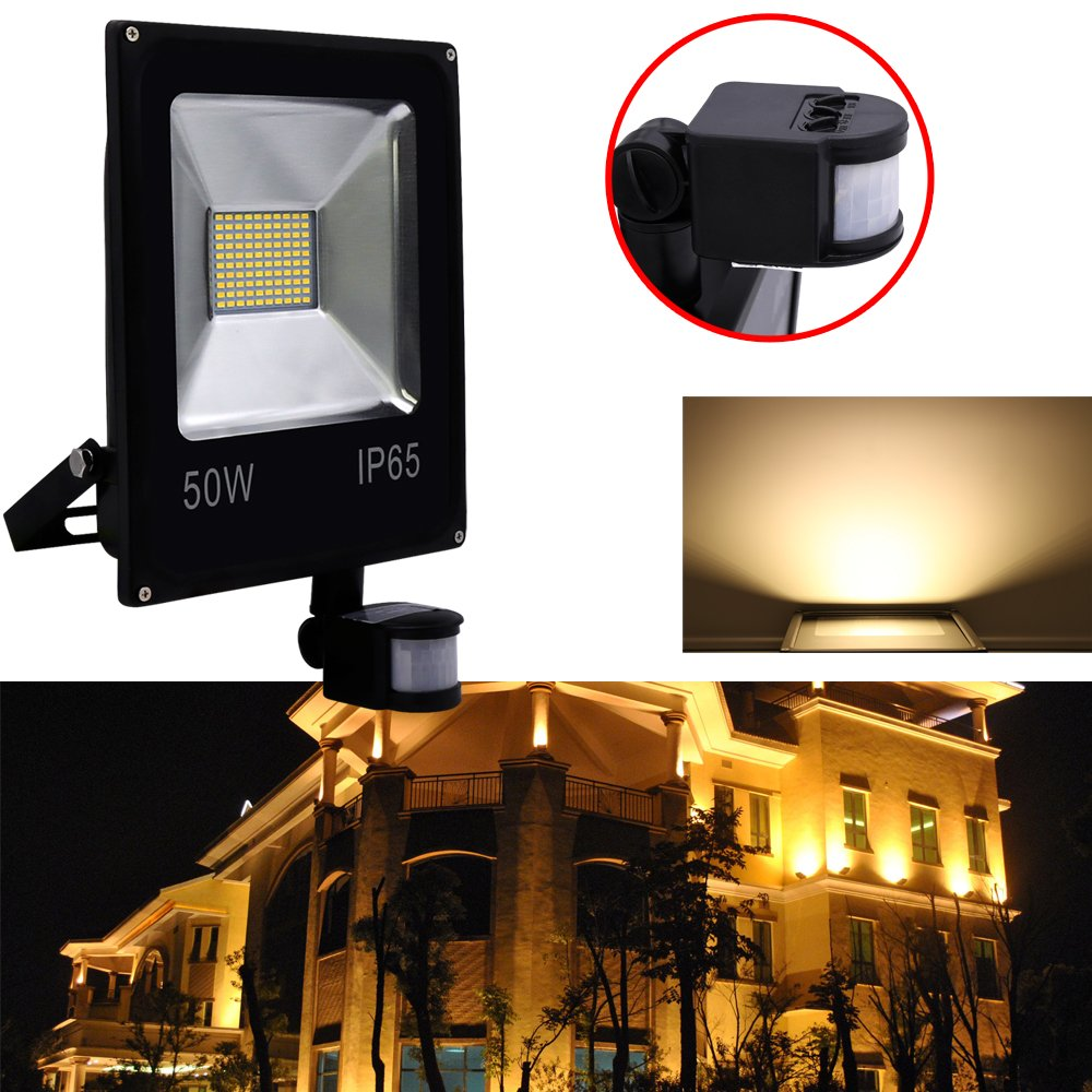 Hengda® 50W Blanco Cálido Foco proyector Exterior LED detección de movimiento PIR sensor Resistente al agua con Sensor LED IP65: Amazon.es: Iluminación