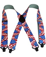 """Hold-Ups Heavy Duty US Flag 2"""" Wide Suspenders wth Gripper Clasps"""