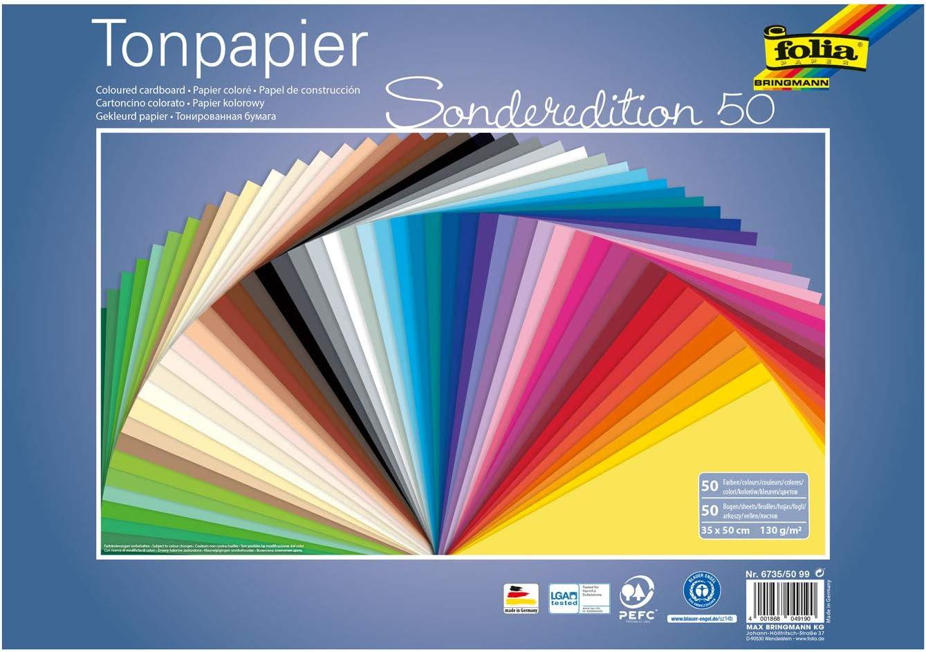 folia 6423 Tonpapier 100 Bogen pink DIN A4 130 g//m²