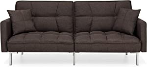Best Choice Products Convertible Linen Splitback Futon Sofa Couch Furniture w/Tufted Fabric, Pillows - Brown