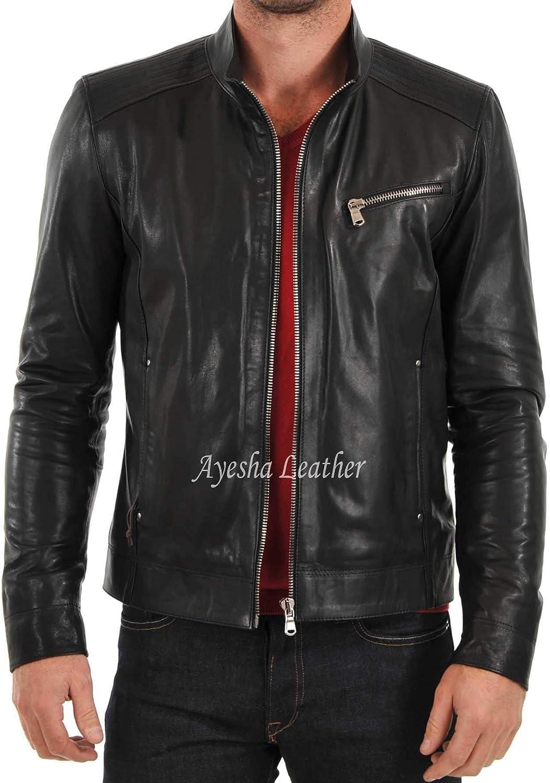 Ayesha Mens Leather Jackets Motorcycle Bomber Biker Genuine Lambskin 63