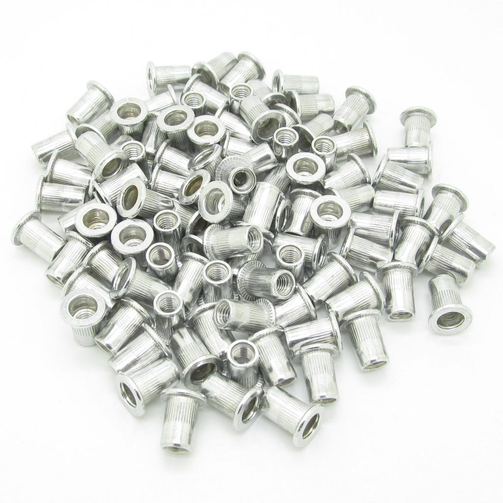 M8 8mm Flat Head Aluminum Rivet Nut Blind Insert Nut Pack Of 100