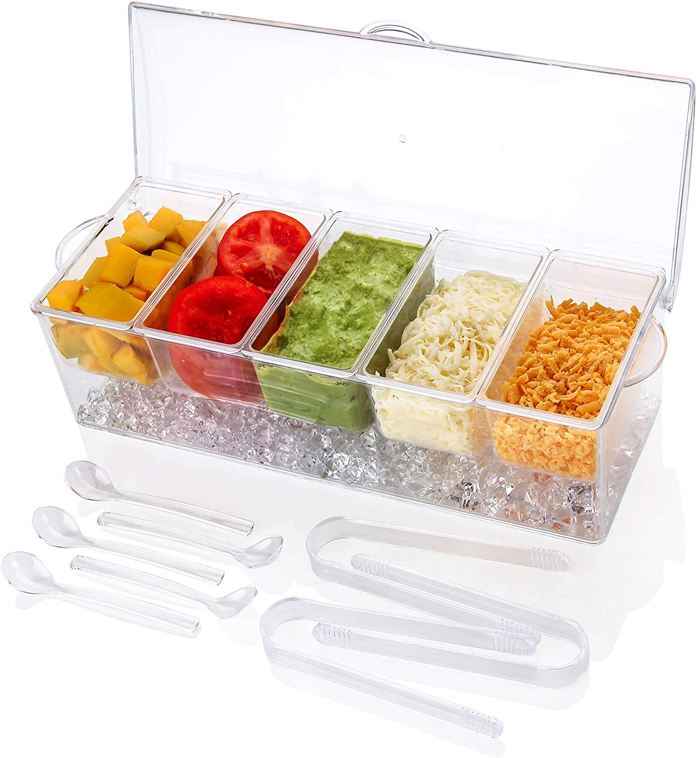 IVYONE Ice Chilled 5 Compartment Condiment Server Caddy | Plastic Storage Food Containers | Serving Tray Container with 5 Removable Dishes over 2 Cup Capacity Each and Hinged Lid