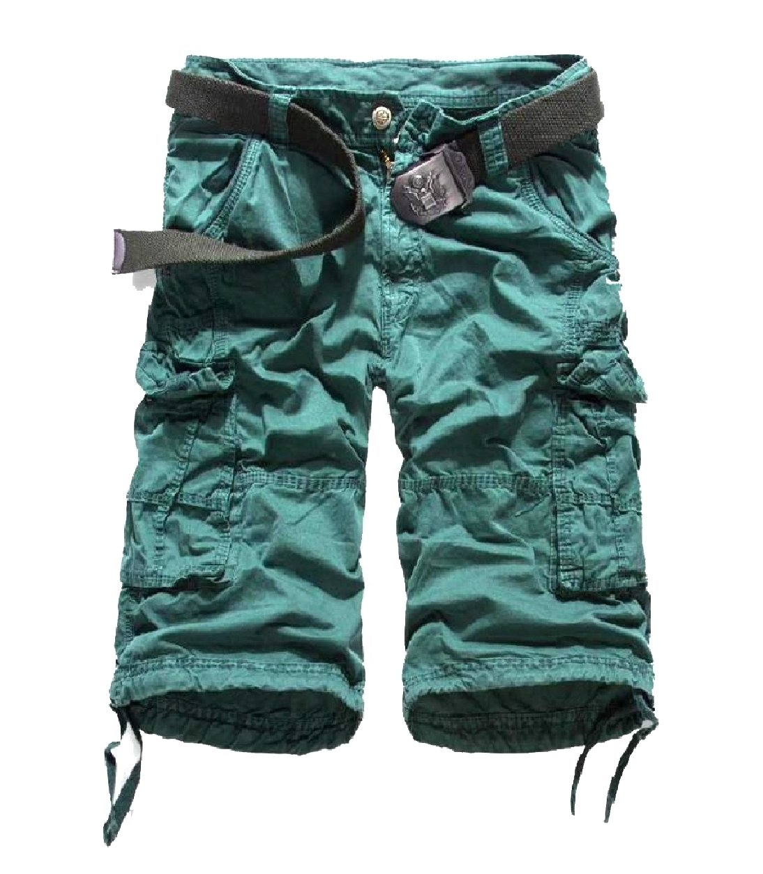 Winwinus Men Mid-Rise Solid-Colored Fine Cotton Straight-Fit Boardshorts Blackish Green 35