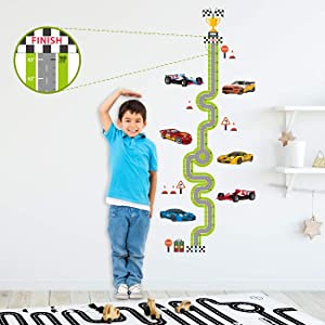 DECOWALL DA-1911 Racing Track Height Chart Kids Wall Stickers Wall Decals Peel and Stick Removable Wall Stickers for Kids Nursery Bedroom Living Room décor