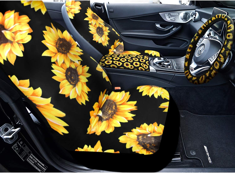 Sunflower Flag Printed Car Floor Mats+ Stretchy Steering Wheel Cover Fit Trucks SUV Van Binienty 5 Pcs Car Decor Accessories Sunflower Blossom Pattern