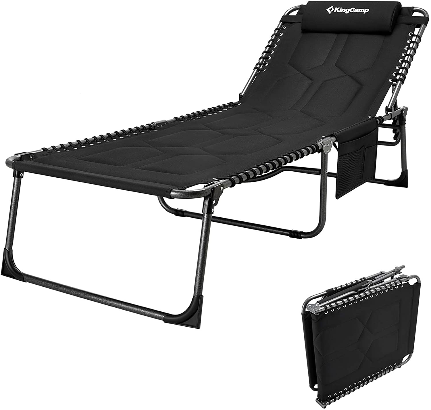 KingCamp 4-Fold Oversize Folding Chaise Lounge Chair for Outdoor, Indoor, Beach, Patio, Lawn, Heavy-Duty Adjustable Camping Recliner with Pillow, Cotton Padded, Side Pocket, Support 330lb