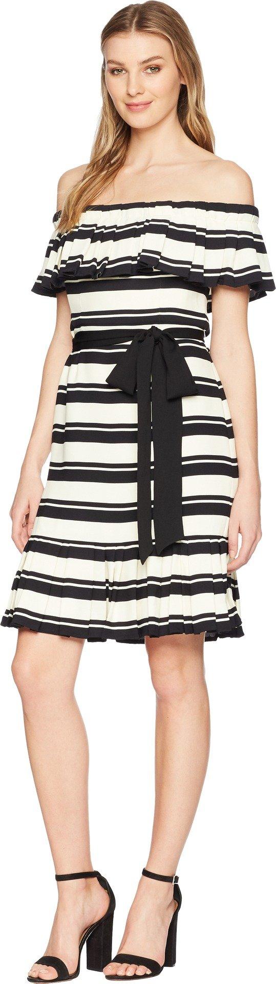 3032da5ca19a Home/Brands/Halston Heritage/Halston Heritage Women's Off Shoulder Flounce  Sleeve Striped Dress, Black/Cream Nouveau, 8. ; 