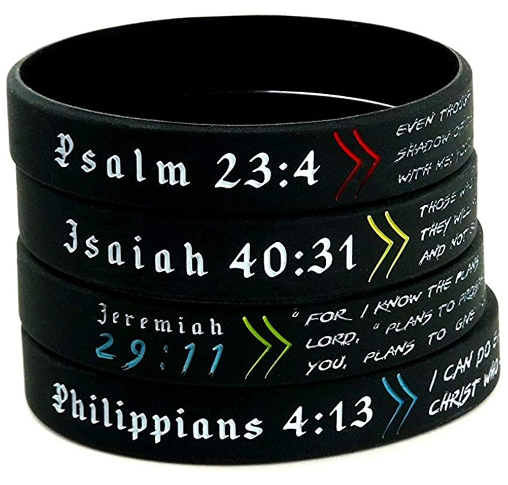 Comfybuy CF 4 Pieces Silicone Bible Verse BraceletsRubber Psalm Jsaiah Jeremiah Philippians Christian Bible Quote Scripture Wrap Wristband for Men WomenTeens Adult Gift for Baptism Outdoor Comfybuy Jewelry CF-HJ18060401-4pcs
