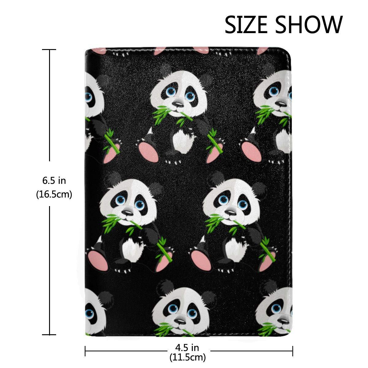 Panda Eating Bamboo Fashion Leather Passport Holder Cover Case Travel Wallet 6.5 In