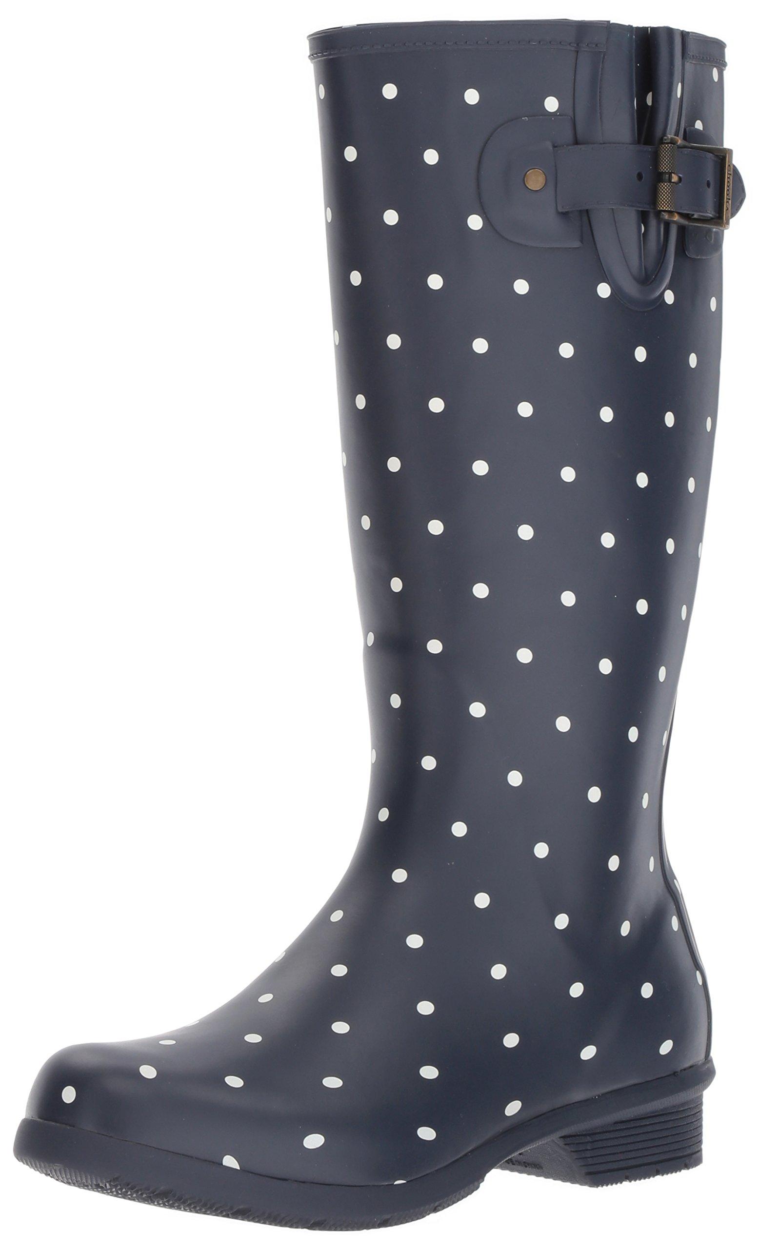 Chooka Women's Tall Memory Foam Rain Boot, Dot Blanc Navy, 9 M US