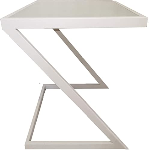 Sofa Side Table,Snack Table,z Shaped end Table for Living Room,Bedside Laptop Table,Couch Corner Table,Plant Stand,Display Stand,and Small Space Table,Metal Table with Glass top White
