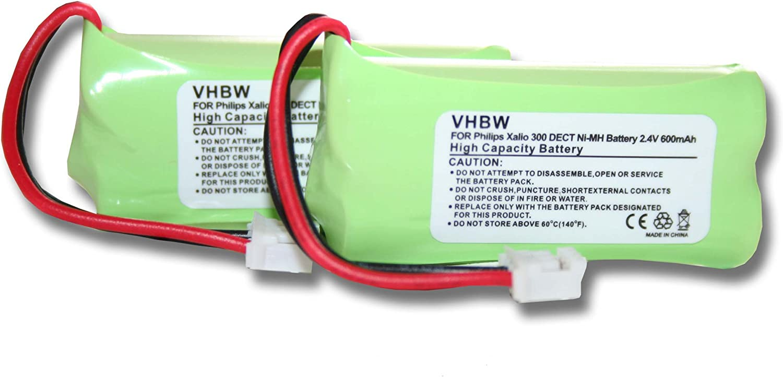 vhbw 2X NiMH batería 600mAh (2.4V) para teléfono Fijo inalámbrico Philips Zenia 300H-AAA500X2 por 2HR-AAAU, H-AAA600X2, H-AAA500X2.