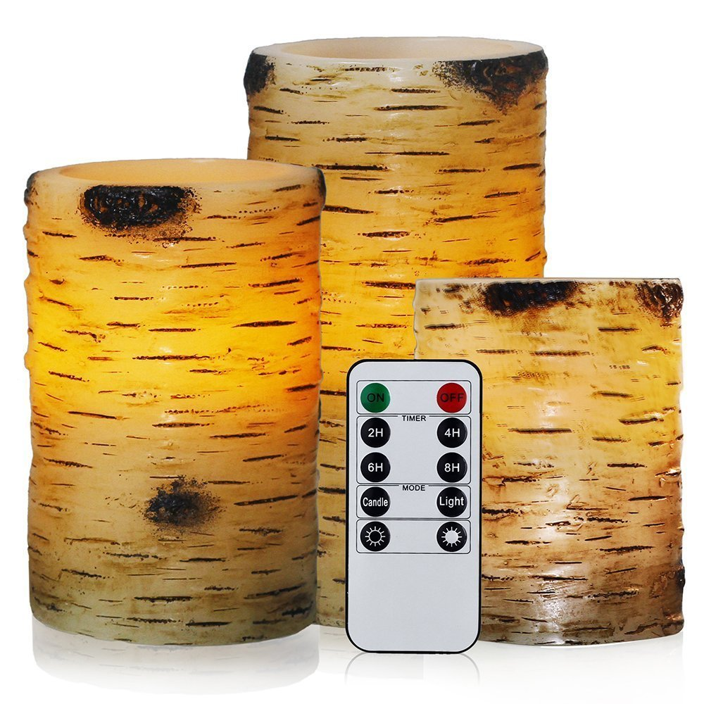 """Flickering Flameless Candles with Birch Bark Effect LED Candles 4"""" 5"""" 6"""" Set of 3 Battery Candles Real Wax Pillar with 10-key Remote Control - 2/4/6/8 Hours Timer"""