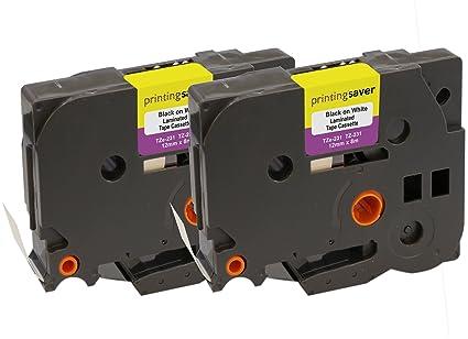 2 Compatibles TZe-231 TZ-231 12 mm x 8 m Negro sobre Blanco Cintas para impresoras de etiquetas Brother P-Touch