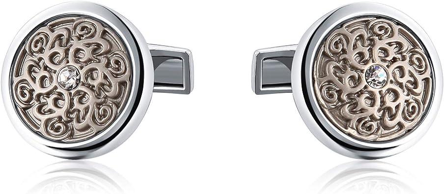 Aundiz Hombres Acero Inoxidable Gemelos Redondo Diseño Camisa Gemelos Plata: Amazon.es: Joyería