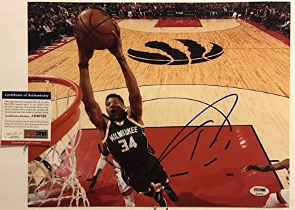 bf1e68dd9633 Image Unavailable. Image not available for. Color  Giannis Antetokounmpo  Autographed Signed 11x14 Photo Memorabilia PSA DNA COA  34 Milwaukee Bucks  Nba