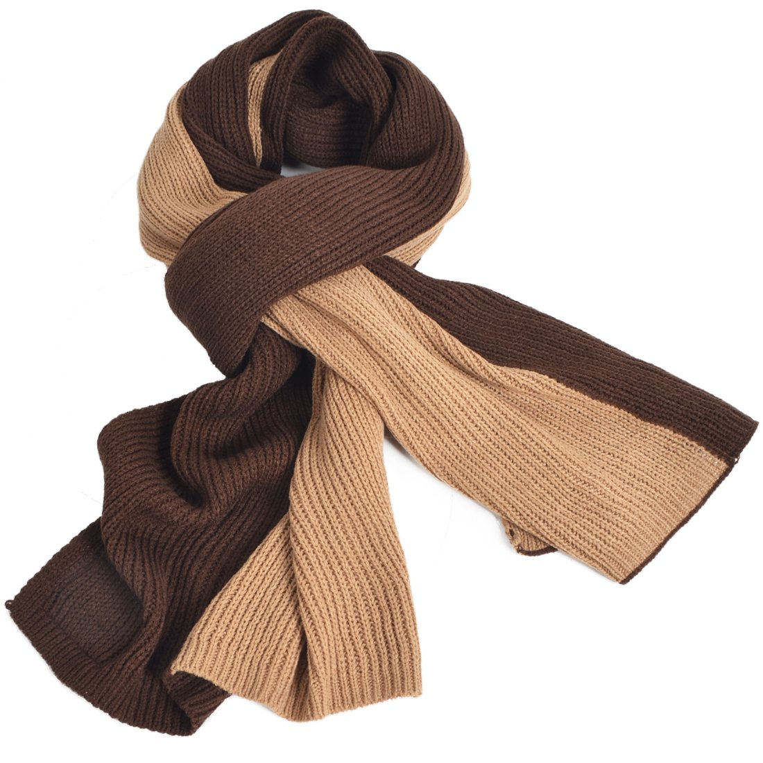 Mens Long Scarf Soft Warm Thick Knit Winter Scarves Plaid Black