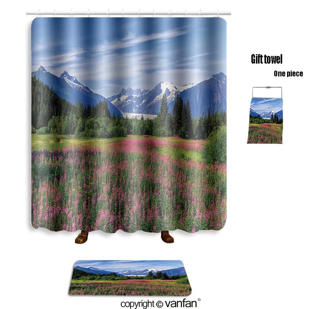 vanfan bath sets with Polyester rugs and shower curtain Juneau, Alaska_498296158 shower curtains sets bathroom 60 x 78 inches&23.6 x 15.7 inches(Free 1 towel and 12 hooks)