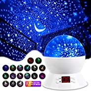 MOKOQI Stage Projection Effects Rotating Star Sky Projection Night Lights for Kids Toys Table Lamps with Timer & Color Changi