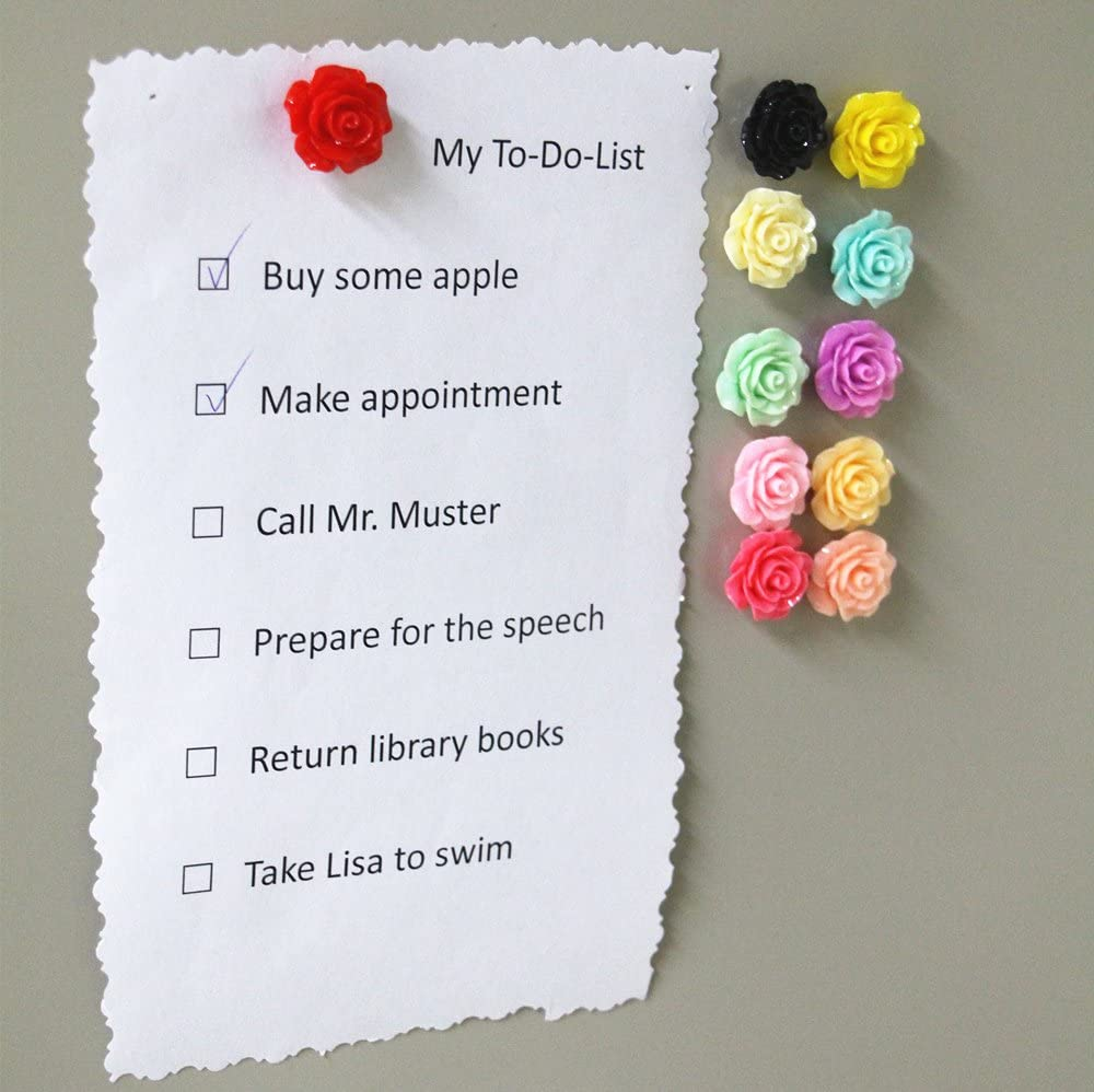 Yalis 20 Pcs Assorted Color Refrigerator Magnets Colorful Floret Magnetic Pushpins for Whiteboard, Fridge Decorative and Holding Paper (Rose)