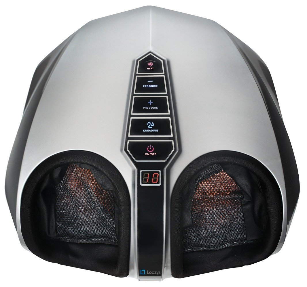 Loozys Shiatsu Foot Massager - Switchable Heat - Easy-to-Use Toe Control - Removable Cover - Remote Control