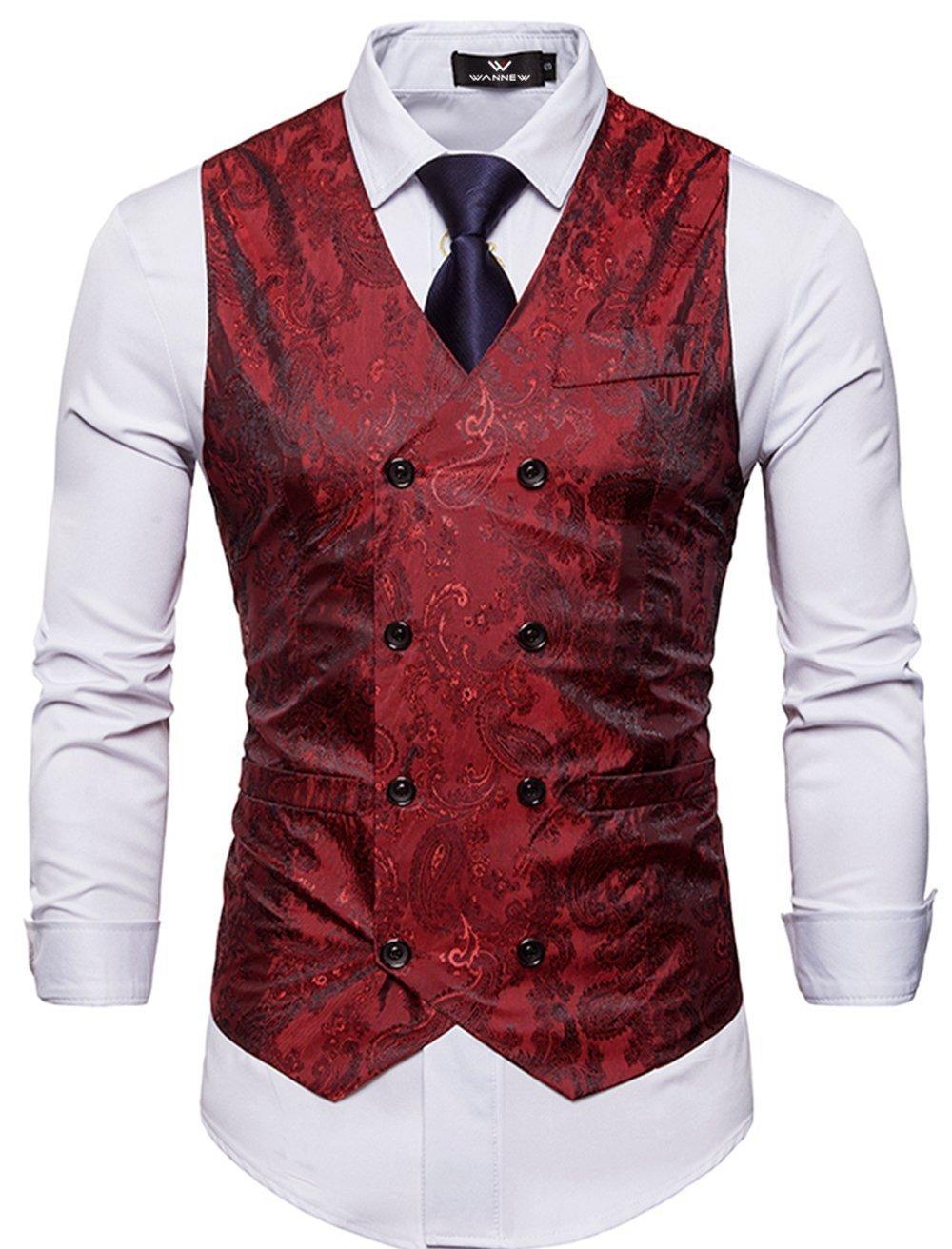 Cyparissus Mens Business Suit Vest Waistcoat Men's Dress Vest or Tuxedo Vest (L, Red)