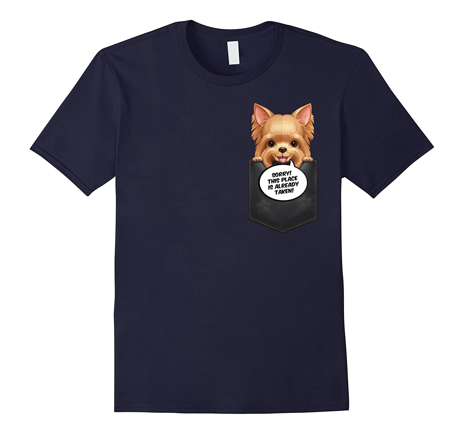 Yorkshire Terrier in Chest Pocket T-Shirt-TH